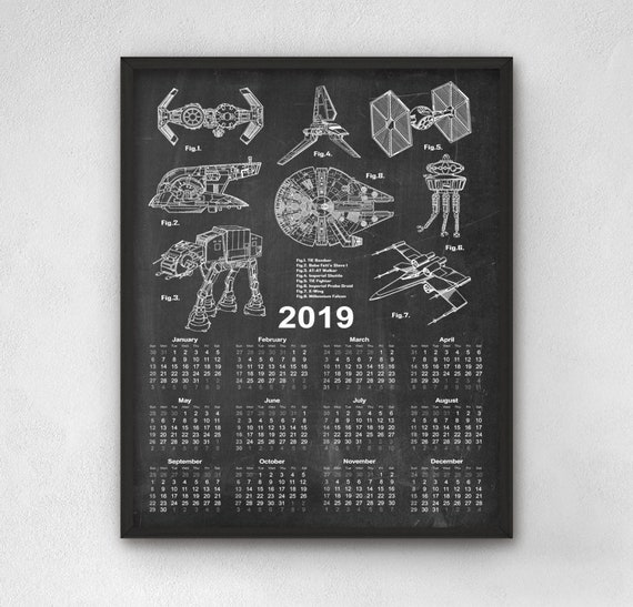 Calendrier Star Wars 2019.Star Wars Patent Calendar 2019 Star Wars Calendar 2019 Star Wars Calendar Decor Star Wars Gift Idea Science Fiction Spacecraft Art