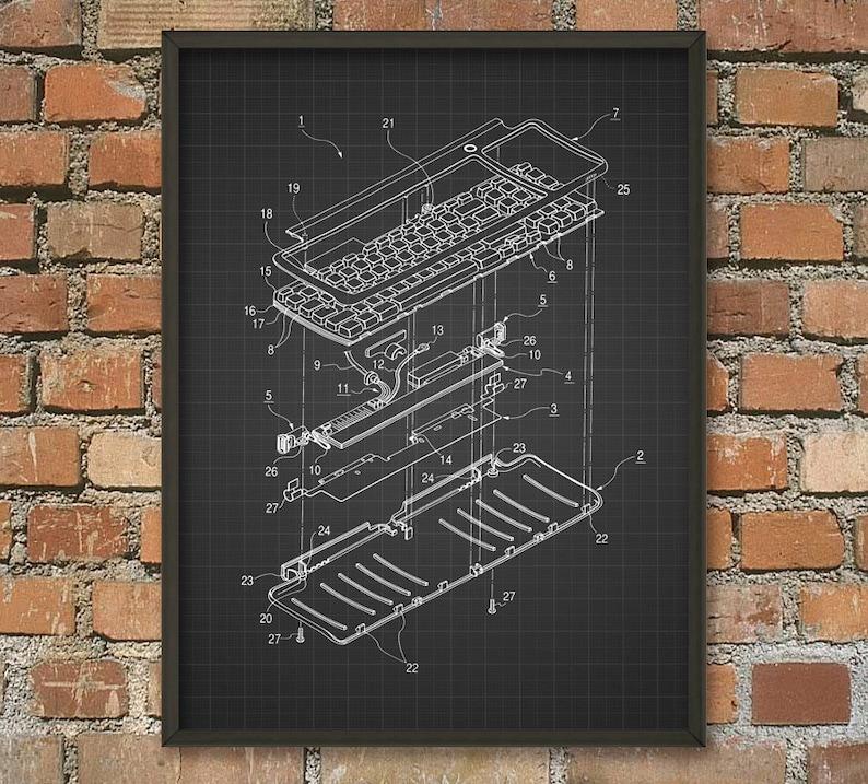 Awe Inspiring Keyboard Schematic Diagram Patent Wall Art Poster Etsy Wiring 101 Ferenstreekradiomeanderfmnl