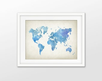 Blue Watercolor Map of the World Print - World Map Poster -  Minimalist Wall Chart Print - Modern Home Decor - Giclee Art Poster