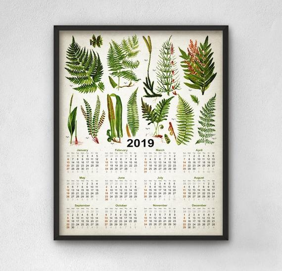 Fern Calendar 2019 Fern Decor Fern Wall Art Calendar 2019   Etsy