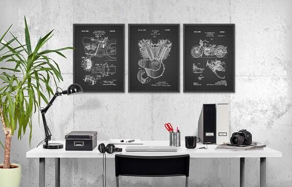 harley davidson brevet imprime set de 3 id e cadeau 1 moto etsy. Black Bedroom Furniture Sets. Home Design Ideas