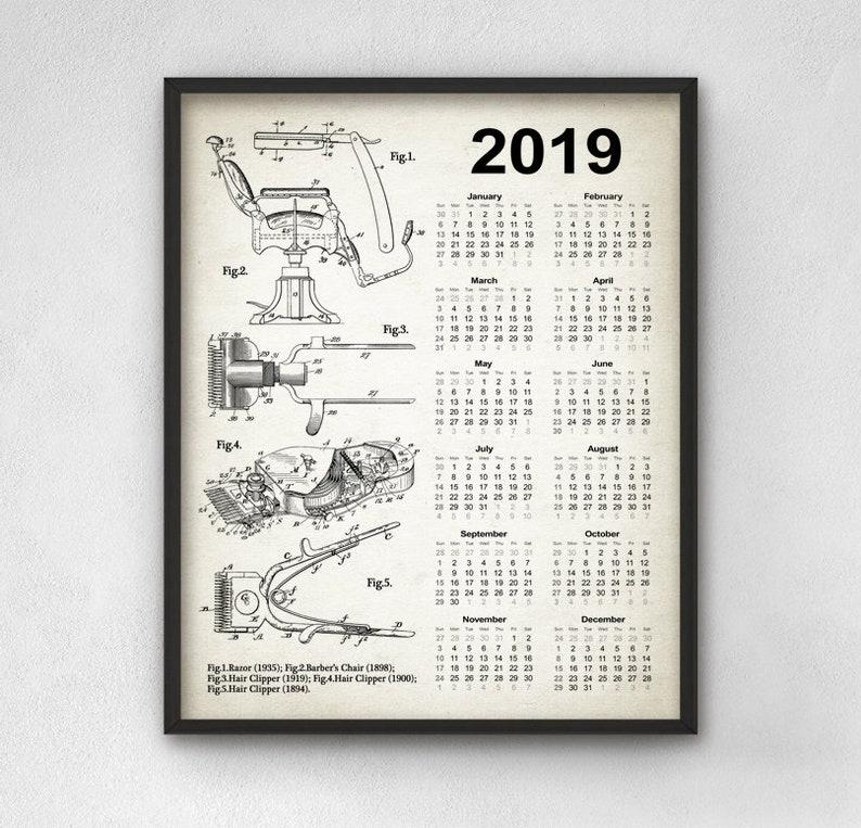 Barber Patent Calendar 2019 Barber Shop Design 2019 Barber Etsy