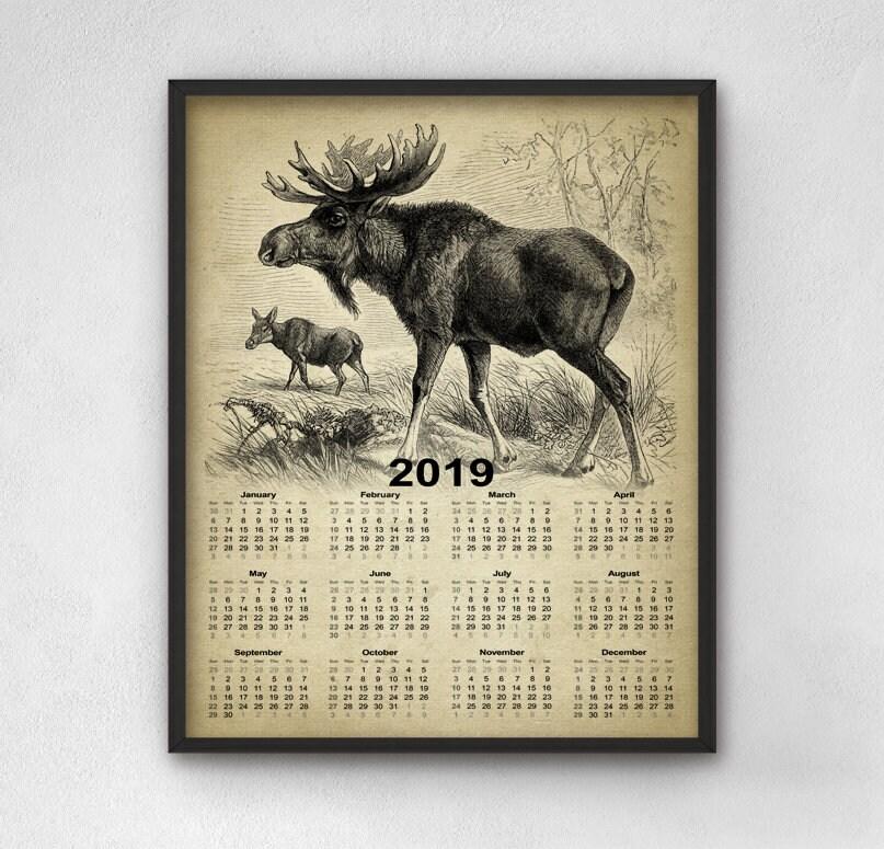 Moose Calendar 2019 Vintage Moose Calendar Moose Poster | Etsy
