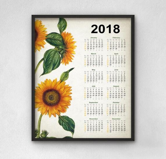 Calendario de cocina 2018 2018 calendario girasol girasoles