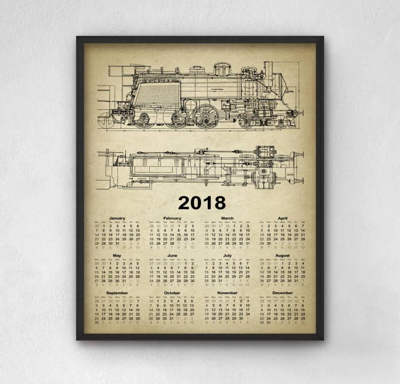 Locomotora calendario 2018 del ferrocarril 1 ferrocarril