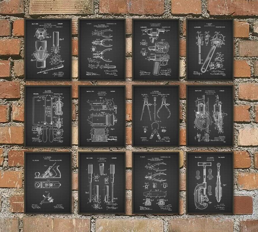 Tools Patent Print Set Of 12 DIY Tool Posters Mancave
