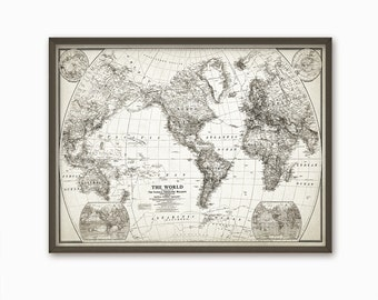 Vintage 1922 World Map Print - Vintage Map Home Decor - Rustic World Map Print - World Map Art Poster - World Map - Vintage World Map Art