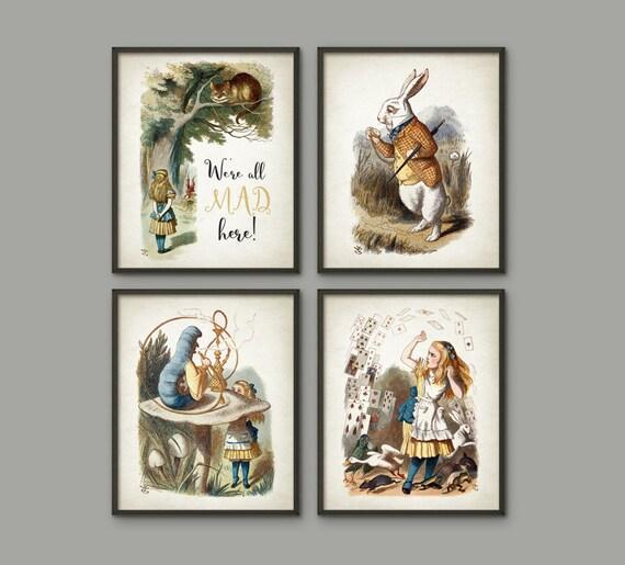 Alice/'s Adventure In Wonderland Decor set of 4 Art Prints Unframed Nursery Decor