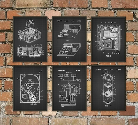 Computer Patent Wall Art Poster Set of 6 Computer Room Home   Etsy