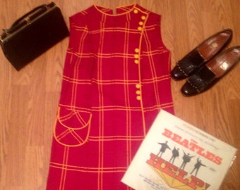 1960s mod plaid tartan shift wiggle Dress Sz medium.red and yellow.vintage dress Mad Men Retro Pocket Collar Sleeveless.
