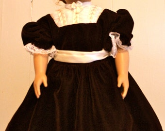 American Girl Doll Clothes- Civil War Era Doll Dress: Wine and Cream