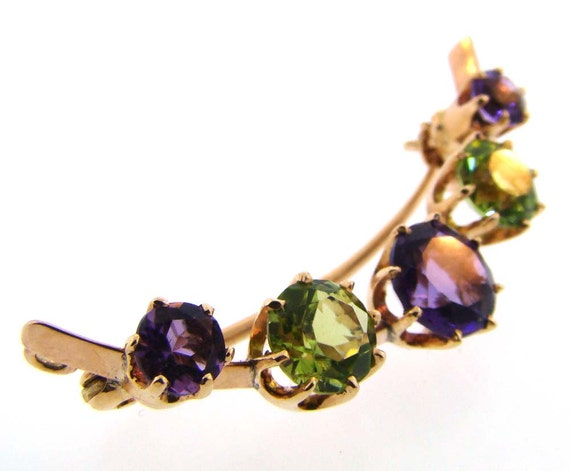 Suffragette Amethyst and Peridot Brooch