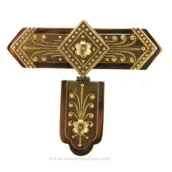 Victorian Etruscan Fob Style Brooch