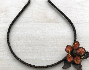Authentic Anatolian Silk Needle Lace Headband Flower Shaped Handmade