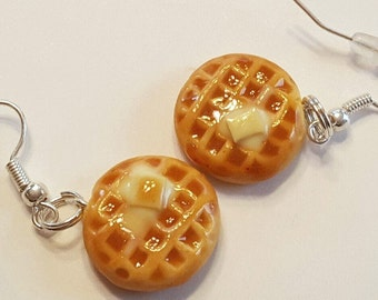Waffle Dangle Earrings, Polymer Clay Food Jewelry