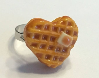 Heart-Shaped Waffle Ring, Polymer Clay Food Jewelry, Miniature Food