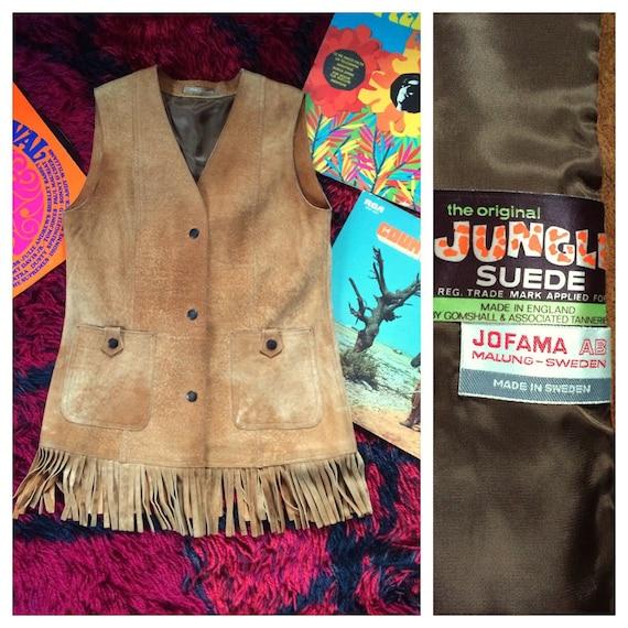 1960's suede fringe vest xs/s
