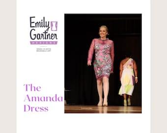 Shift dress the Amanda Dress in an iris print and sheer