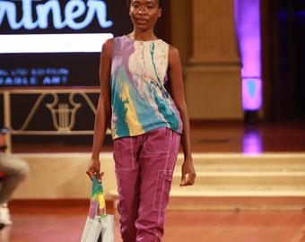 Abstract Chiffon Top Wearable Art & coordinating purple joggers