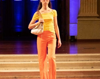 Hand dyed, slow stitched yellow cotton top & up cycled orange sailor pants