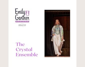 Kimono Jacket Palazzo pants and Bolero top the Crystal 3 piece ensemble