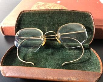 4390a251ac Antique Eyeglasses Gold Filled Rimless bifocals + Case