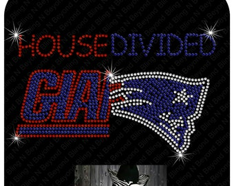 Custom House Divided Shirts.. You give us the logos and we make the bling - Giants - Patriots