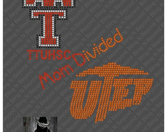 Custom House Divided Shirts.. You give us the logos and we make the bling -Tech - UTEP