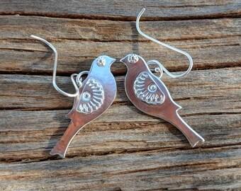 Bird Earrings, Fine Silver, 99.9%, Birdies, Hand Stamped
