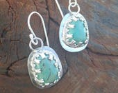 Green Turquoise Earrings in Sterling Silver, Natural, Green, Green Turquoise, Native, 925, Southwestern, Western, USA, Cowgirl
