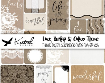 Digital Scrapbook Cards - 16 Lace, Burlap & Calico Themed Cards in 4x6 and 3x4 size - Kestrel Design immediate download - project life daily
