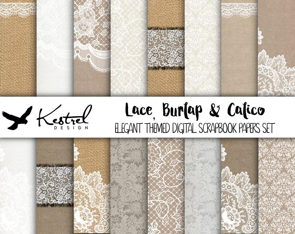 Letter size - Lace, Burlap & Calico Digital Paper Pack - Kestrel ...