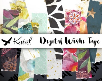 Digital Washi Tape - 10 Realistic Mixed Floral, Graphic, Geometric and Stars - Kestrel Design immediate download - scrapbooking paper crafts