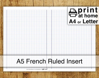 Printable French Ruled Inserts - A5 or halved Letter size - Kestrel Design DIY immediate download - traveller notebook insert handwriting