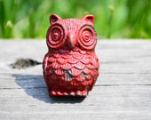 Red metal owl handle cabinet knob cast iron drawer pull resin decorative furniture hardware home improvement bedroom country kitchen