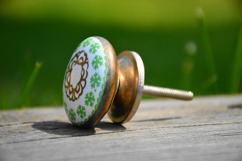 Ceramic knobcabinet knobantiquevintagerusticdrawer pulldoor handledressergreenwhitegoldcelticIrishdecorativeuniquefurniture
