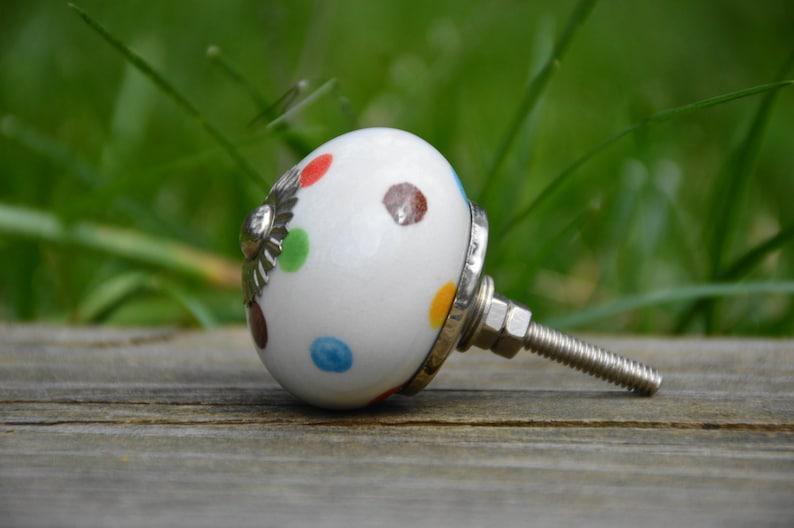 Ceramic knobpolka dot knobrainbow knobmulti-colorcabinet knobdrawer pullhandleuniquedecorativeprimarycolorfulbabykidskitchen