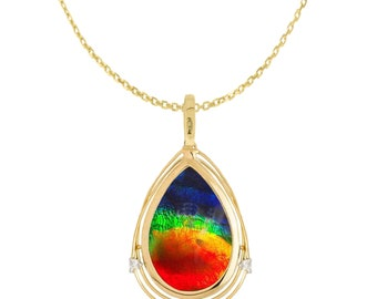 b037f59ea Ammolite Natural Ammolite AAA 14k Yellow Gold Necklace