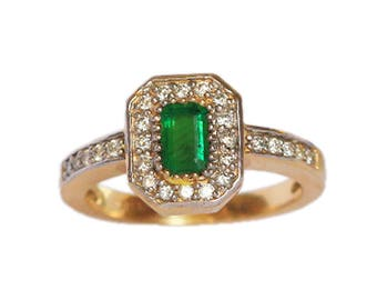Genuine flawless Emerald Diamond Ring in 14 K Yellow Gold:Free Shipping in USA Only