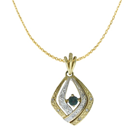 Natural Alexandrite Necklace Pendant In 14 K Yellow Gold
