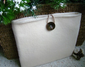 White Wool iPad, Samsung Galaxy 10, Kindle Fire HD 8.9,  Nook HD or similiar sized Tablet Sleeve, Large Button Closure