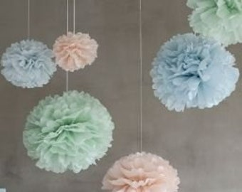 7aed5e81 Set of 15 units (5+5+5) of tissue paper pom poms - handmade - hanging  decorations - outdoor photoshoot - lots of colours to choose from