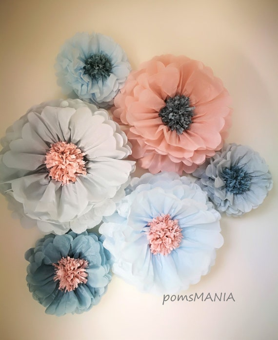 Pale gray/Ice blue/Vintage rose/Duck egg blue Paper Flowers backdrop (5 units ) - 3D wall decorations - Party  Centerpiece - Wedding arch