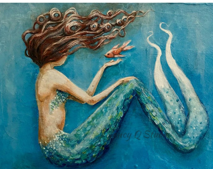 Featured listing image: Mermaid painting, textured mermaid art on canvas by Nancy Quiaoit.