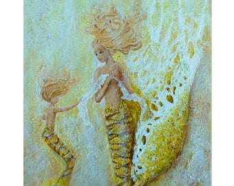Mother and daughter mermaids, yellow mermaid art print, textured mermaid wall art by Nancy Quiaoit.