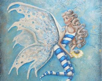 Fairy wall art, cute fairy painting print, beautiful blonde fairy art print. Original fairy painting by Nancy Quiaoit.
