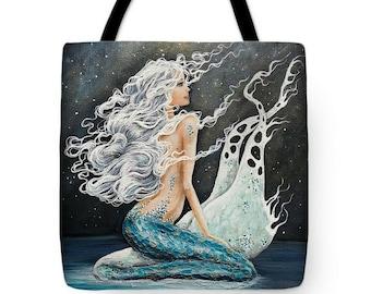 Mermaid at night tote bag, mermaid under the stars purse,  full moon beach tote, original painting by Nancy Quiaoit