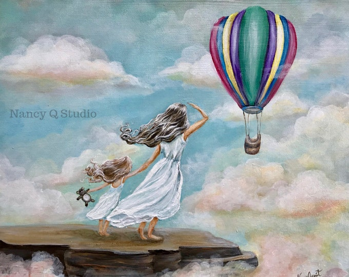 Featured listing image: Mother and Daughter hot air balloon Art, Original painting print by Nancy Quiaoit.