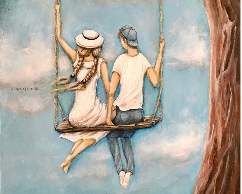 Boy and girl on a swing painting