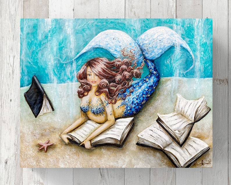 book art Mermaid reading painting on canvas beach house coastal decor